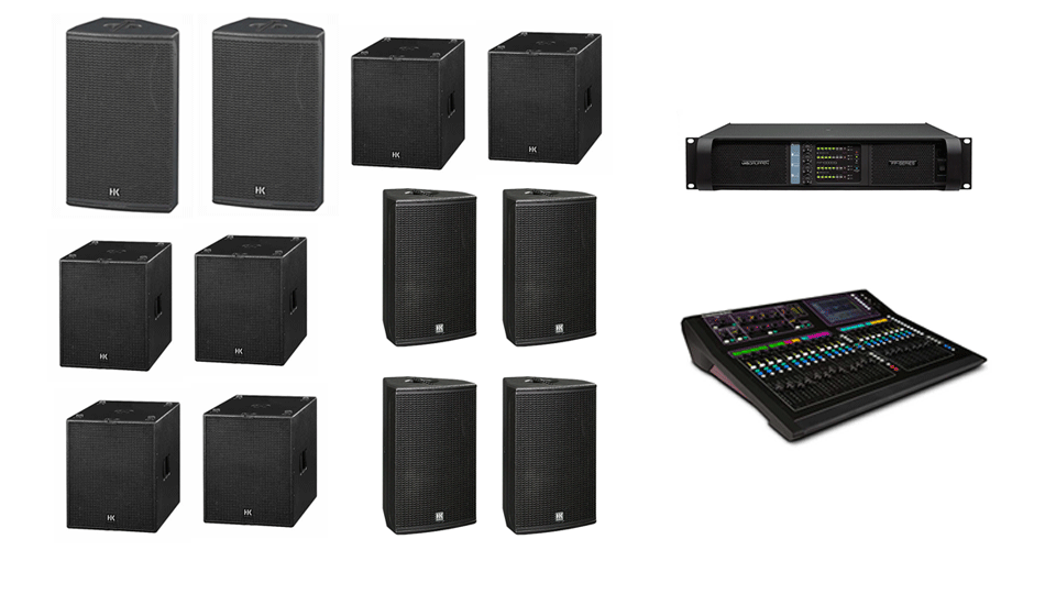 PA Hire Package 5, 2 HK Audio CT115 Speakers, 6 HK Audio CT118 Sub's, 4 HK Audio CT112 monitors, 1 Allen and Heath GLD-80 Mixer, powered by Lab.Gruppen FP Series with microphones, DI Boxes and cabling included.